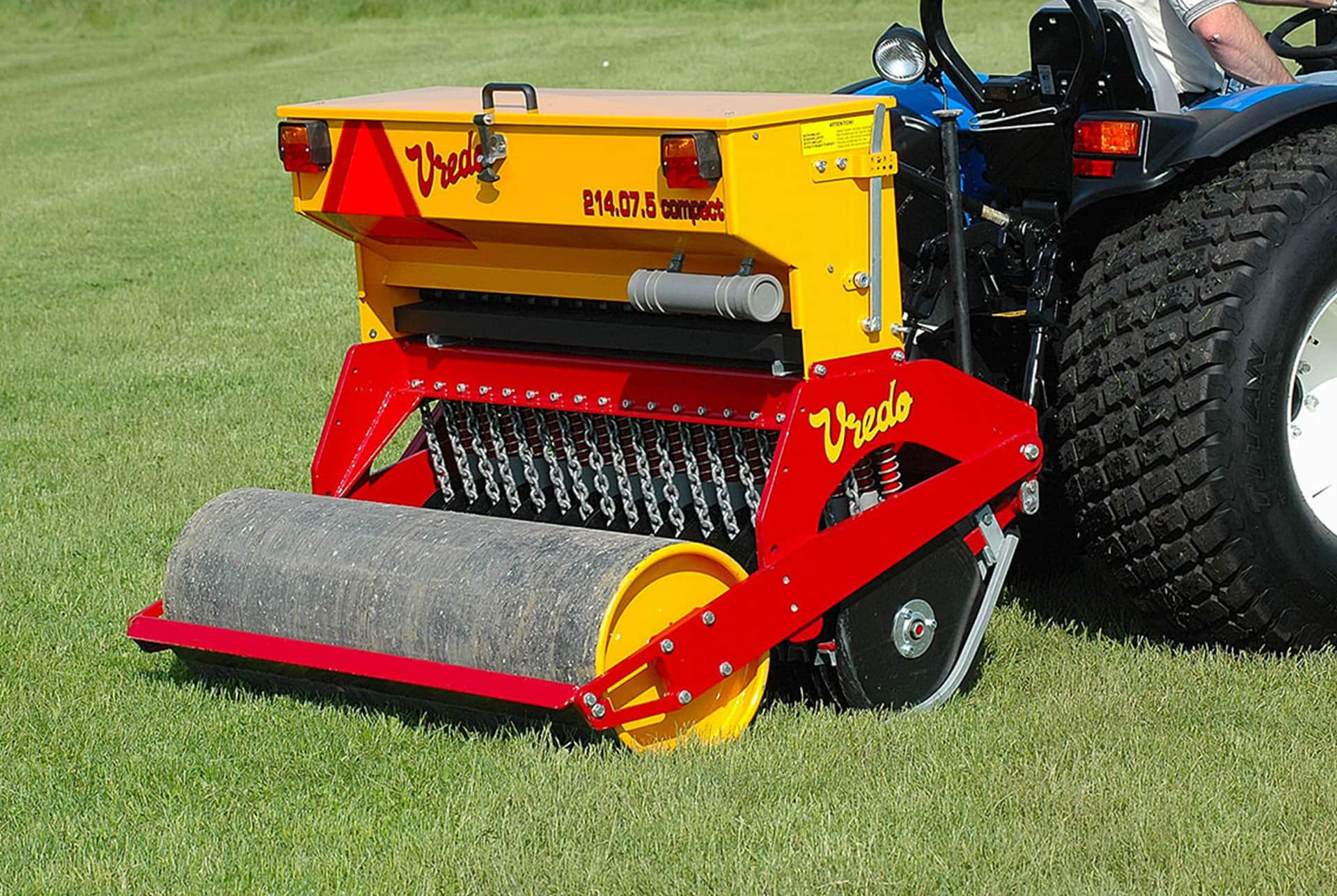 Compact Tractor Seeder : Campey turf care systems vredo compact series